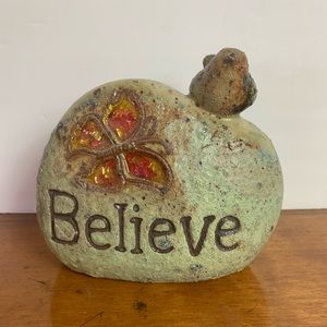 Decorative rock believe with a butterfly & bird